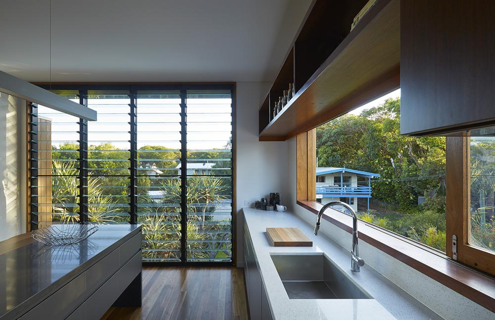 Kitchen with louver windows
