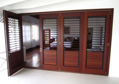 Breezway louvers with wood blades can be used for privacy and ventilation