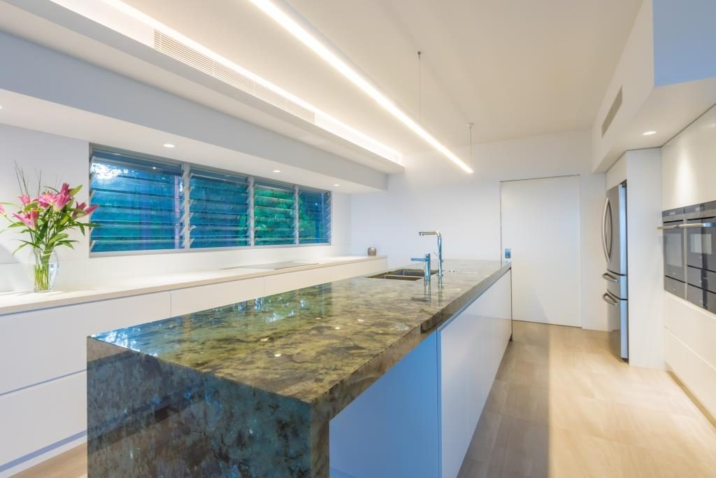 Close up of Breezway louvers in kitchen